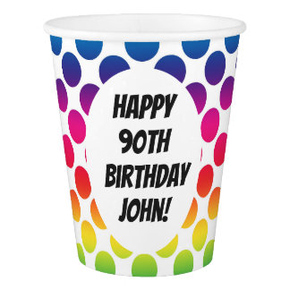 90th Birthday Celebration With Colourful Circles Paper Cup