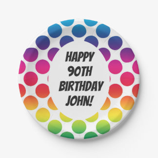 90th Birthday Celebration With Colourful Circles Paper Plate