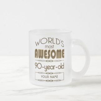 90th Birthday Celebration World Best Fabulous Frosted Glass Coffee Mug