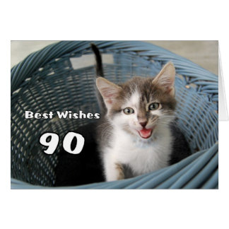90th Birthday Crazy Kitten Card