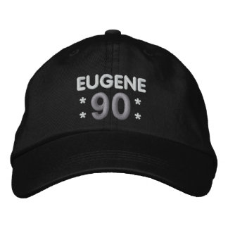 90th Birthday Custom Name BLACK WHITE SILVER H90E Embroidered Hat
