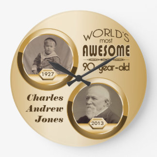 90th Birthday Customized Then Now Gold Photo Frame Large Clock