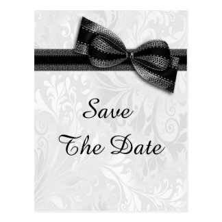 90th Birthday Damask and Faux Bow Save The Date Postcard