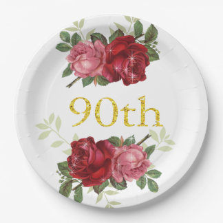 90th Birthday, Elegant, Red Vintage Roses, Custom 9 Inch Paper Plate