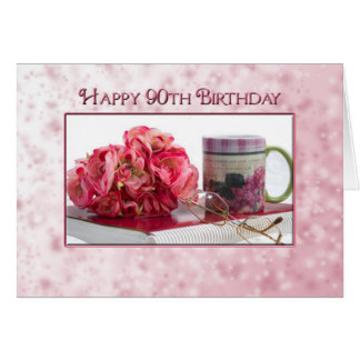 90th Birthday - Female - Dainty Pink Card