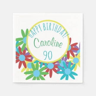 90th Birthday Floral Personalized Disposable Napkins