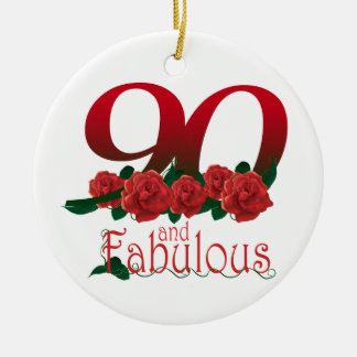 90th birthday flower ceramic ornament