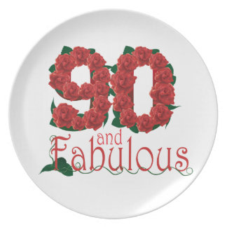 90th birthday flower party plate