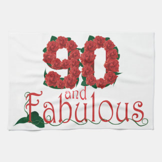 90th birthday flower towels