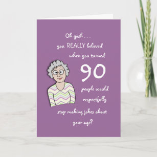 90th Birthday For Her Funny Card