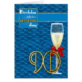 90th Birthday - Geometric Birthday Card Champagne