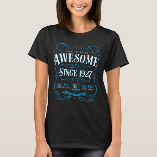 90th Birthday Gift Awesome Since 1927 Blue T-Shirt