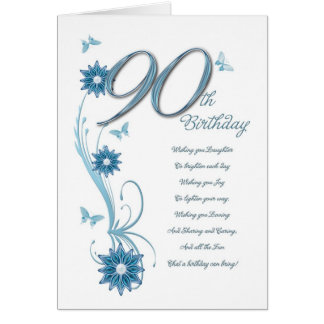 90th birthday in teal with flowers and butterfly card