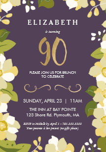 90th Birthday Invitation Customize Floral W Gold Card