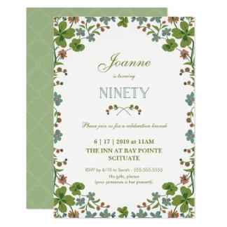 90th Birthday Invitation, Ninetieth Vintage Style Card