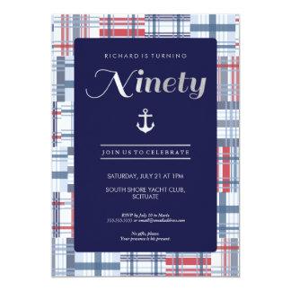 90th Birthday Invitation - Ninety, Nautical Summer