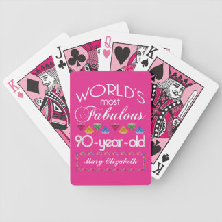 90th Birthday Most Fabulous Colorful Gems Pink Bicycle Playing Cards