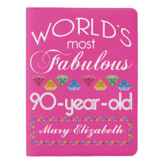 90th Birthday Most Fabulous Colorful Gems Pink Extra Large Moleskine Notebook
