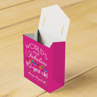 90th Birthday Most Fabulous Colorful Gems Pink Favor Box