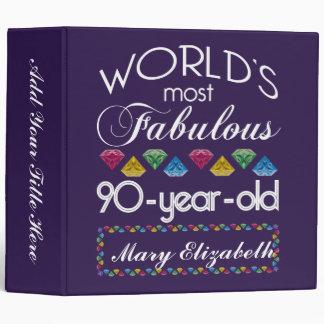 90th Birthday Most Fabulous Colorful Gems Purple Binders
