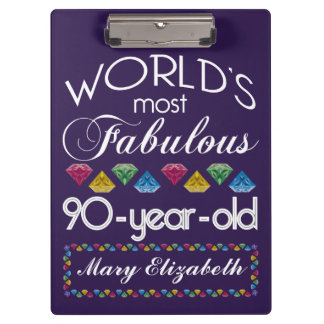 90th Birthday Most Fabulous Colorful Gems Purple Clipboard
