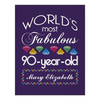 90th Birthday Most Fabulous Colorful Gems Purple Customized Letterhead