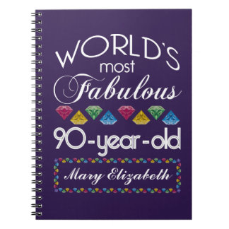90th Birthday Most Fabulous Colorful Gems Purple Spiral Notebooks