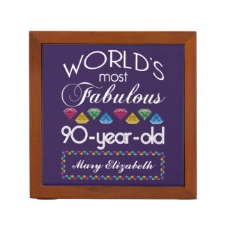 90th Birthday Most Fabulous Colorful Gems Purple Pencil Holder
