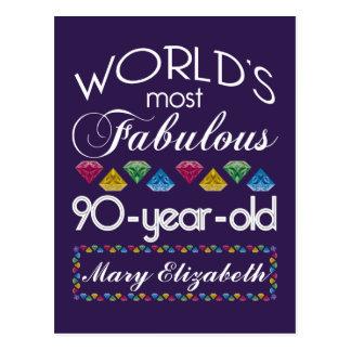90th Birthday Most Fabulous Colorful Gems Purple Postcard
