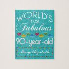 90th Birthday Most Fabulous Colourful Gem Jigsaw Puzzle