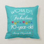 90th Birthday Most Fabulous Colourful Gem Throw Pillow