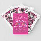 90th Birthday Most Fabulous Colourful Gems Pink Bicycle Playing Cards