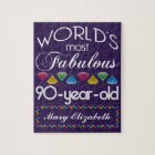 90th Birthday Most Fabulous Colourful Gems Purple Jigsaw Puzzle