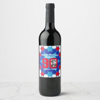 90th birthday name photo custom wine labels