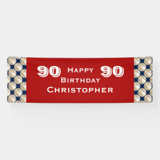 90th Birthday Party Baseball Banner, Adult Banner