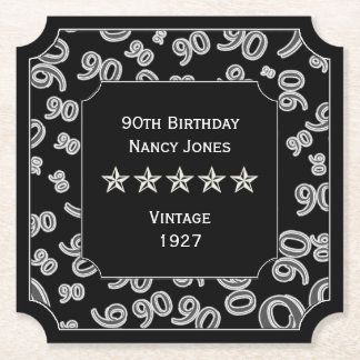 90th Birthday Party Black and White Theme Paper Coaster