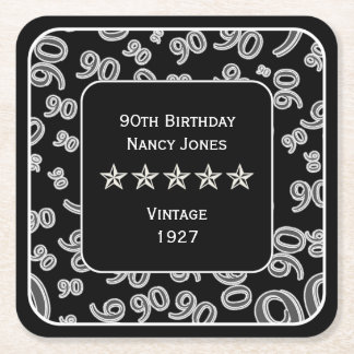 90th Birthday Party Black and White Theme Square Paper Coaster