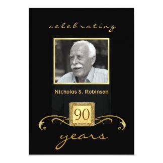 90th Birthday Party Black Gold - with photo Card