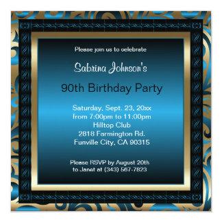 90th Birthday Party | Blue Metallic & Gold Card