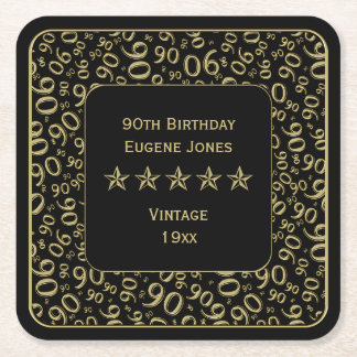 90th Birthday Party Gold/Black Pattern Square Paper Coaster