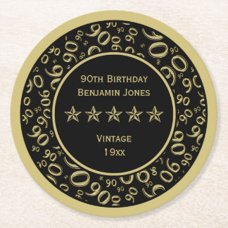 90th Birthday Party Gold/Black Round Pattern Round Paper Coaster