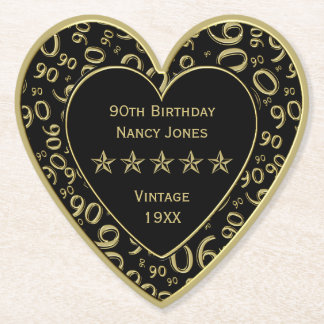90th Birthday Party Gold/Black Theme Paper Coaster