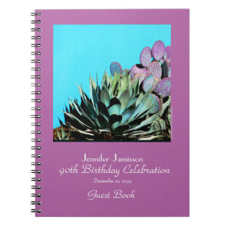 90th Birthday Party Guest Book, Agave and Cactus Spiral Notebooks