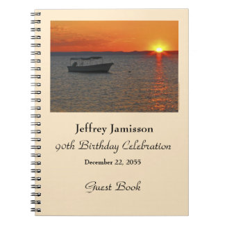 90th Birthday Party Guest Book, Fishing Boat Spiral Notebook