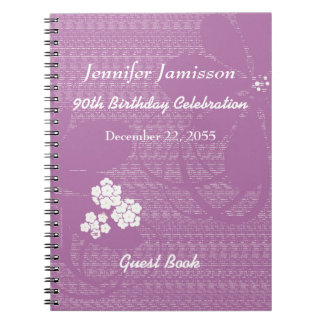 90th Birthday Party Guest Book Purple White Floral Spiral Notebooks