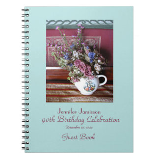 90th Birthday Party Guest Book, Vintage Teapot Spiral Notebooks