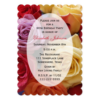 90th Birthday Party Multi Color Roses Card