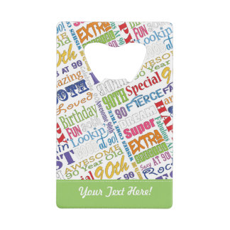 90th Birthday Party Personalized Gifts Wallet Bottle Opener