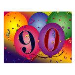 90th birthday party postcard invitation