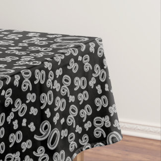 90th Birthday Party Theme, Black and White Tablecloth